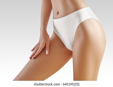 Spa and wellness. Healthy slim body in white panties. Beautiful sexy hips. Fitness or plastic surgery. Perfect buttocks without cellulite.