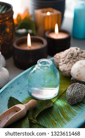 Spa and wellness. Spa products in natural setting with orchid flower .Spa treatment with lotion