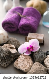 Spa and wellness. Spa products in natural setting with orchid flower .Spa treatment
