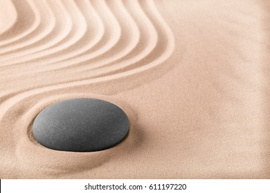 Spa wellness treatment background with sand and stone like for zen meditation. Relaxation and balance trough massage. Zen Buddhism garden.