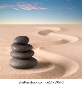spa wellness treatment, concept of Japanese zen garden stones and tao buddhism Balance harmony relaxation meditation background Stone stack in sand pattern spiritual elements.