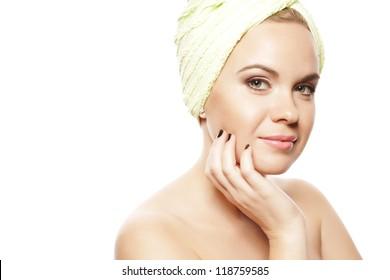 Spa Woman. Beautiful Girl After Bath Touching Her Face. Perfect Skin. Skincare. Young Skin. Studio Shot