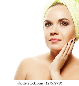 Spa Woman. Beautiful Girl With Ginger Hair After Bath Touching Her Face. Perfect Skin. Skincare. Young Skin. Studio Shot