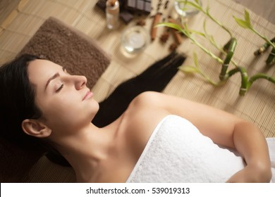 Spa Woman. Beautiful Woman Relaxing in Spa Salon. High quality image
