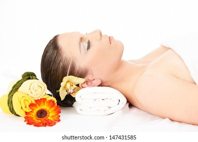 Spa Woman. Beautiful young woman relax in Spa