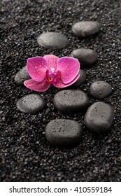 SPA. Zen stones and orchid on a black background