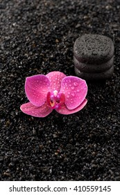 SPA. Zen stones and orchids on a black background