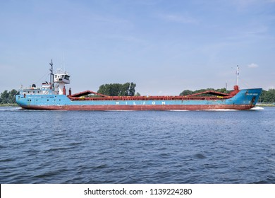 SPAARNDAM, NETHERLANDS - June 15, 2018: general cargo vessel WILSON WESER inbound Amsterdam. Wilson ASA is one of the largest short sea shipping companies in the world that operates about 100 vessels.