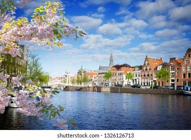 Spaarne river and old Haarlem