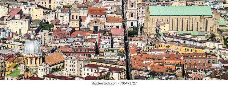 Spaccanapoli, Naples Italy.  View of Spaccanapoli street splitting city center