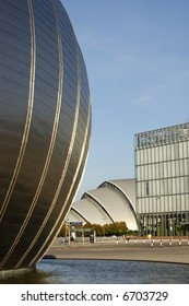 The space age shell of the Imax cinema and the 'Armadillo' shape of the clyde auditorium at Pacific Quay, Glasgow