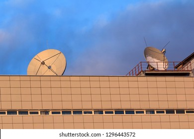 Space antennas on roof of building. Signal recept