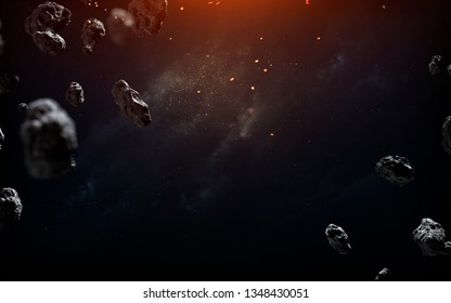 Space background with asteroid field, science fiction image. Elements of this image furnished by NASA
