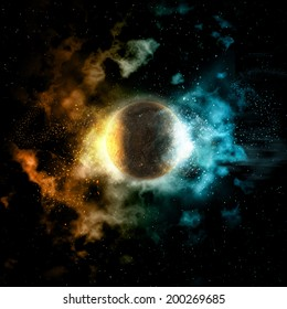 Space background with colourful nebula and fire and ice planet