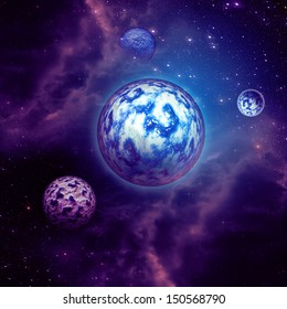 Space background with purple clouds, stars and planets.