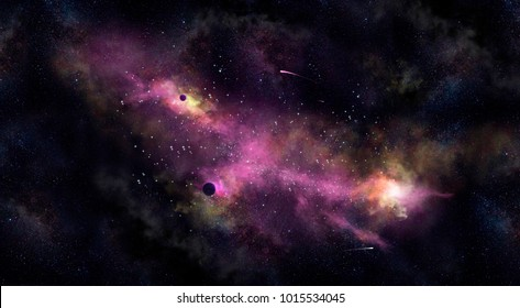 Space background with a purple nebula and  planets
