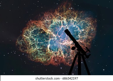 Space background with silhouette of telescope. Crab Nebula in constellation Taurus. Supernova Core pulsar neutron star. Elements of this image are furnished by NASA.