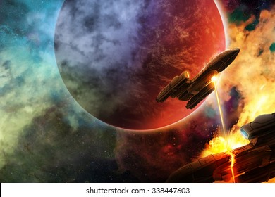Space battle with aliens in an unknown hostile universe