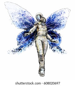 Space butterfly girl. Illustration of a fantasy astronaut dressed in space suit with butterfly wings.