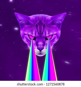 Space Cat with lasers from eyes. Minimal collage fashion concept