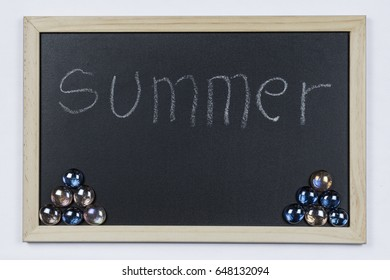 """Space chalkboard background texture with wooden frame with the word """"Summer"""". blackboard space for wallpaper. Landscape mounting style horizontal."""