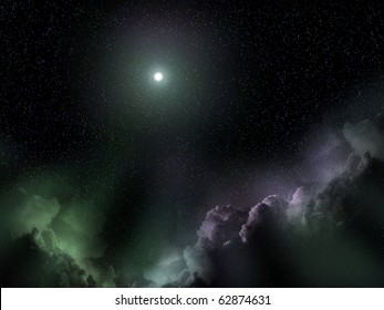 Space Christmas landscape with a Bethlehem star and galaxy clouds