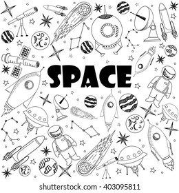 Space coloring book line art design raster illustration. Separate objects. Hand drawn doodle design elements.