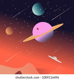 A space cosmos scene with planets background illustration design.