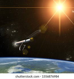 Space craft or satellite above earth. Sunrise. The elements of this image furnished by NASA.