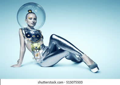 space cyborg woman sitting on the floor in glass helmet