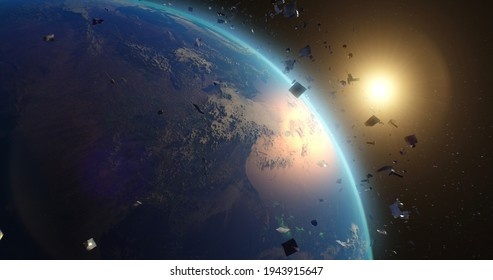 Space debris around planet Earth