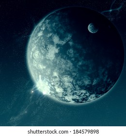 Space is Epic - A huge and small planet in a dramatic outer space scene.