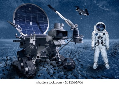 Space explorer on a lonely planet with a solar truck and a satellite