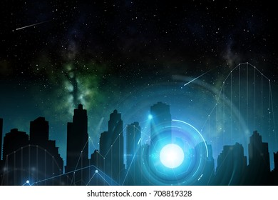 space and future technology concept - illustration of futuristic city skyscrapers over night sky background and holograms