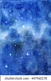 Space hand painted watercolor background. Abstract galaxy painting. Cosmic texture with stars. Watercolor Night sky sketch background. Beauty Milky Way