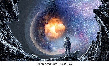 Space hole and astronaut. Mixed media