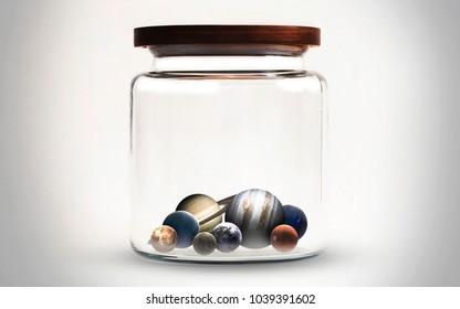 Space in the jar. Science fiction wallpaper, planets, stars, galaxies and nebulas in awesome cosmic image. Elements of this image furnished by NASA