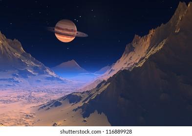 Space landscape distant planet.