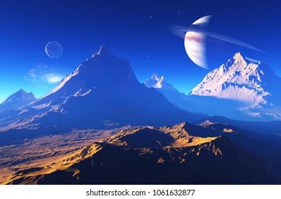 Space landscape on the planet.3d render