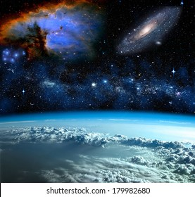 Space landscape, view from Earth. Elements of this image furnished by NASA
