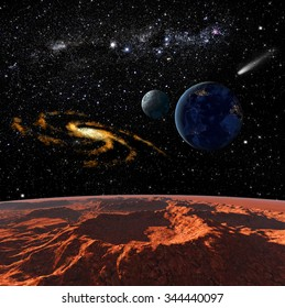 Space landscape, view of the Mars. Elements of this image furnished by NASA.
