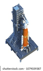Space Launch System With Launchpad Over White Background. 3D Illustration.