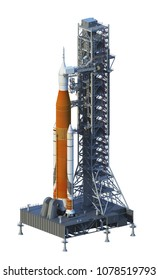 Space Launch System On Launchpad Over White Background. 3D Illustration.