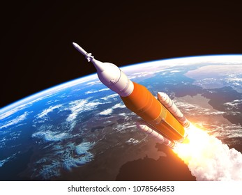 Space Launch System Over The Earth. 3D Illustration.