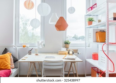 Space for learning in modern teenager's room