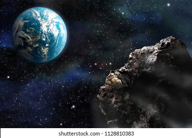 Space, meteorites, fantasy, illustration. A meteorite is approaching the planet. Dangerous rapprochement. Elements of this image furnished by NASA