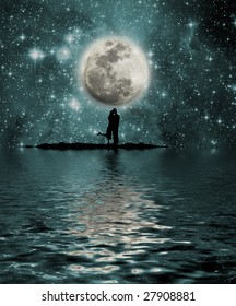 Space, moon, lake