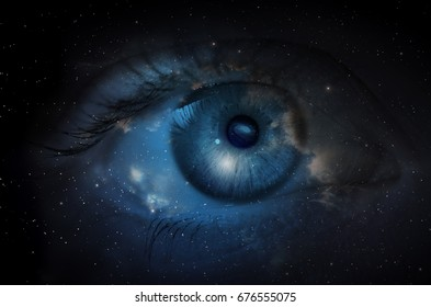 Space nebula with human eye. Concept image.
