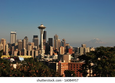 Space Needle and Mount Rainier