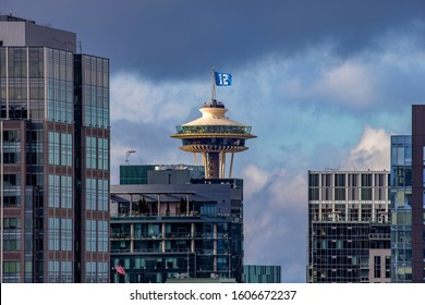 Space Needle, Seattle, WA - January 5, 2020: Seahawks' number 12 flag flying at Seattle's Landmark